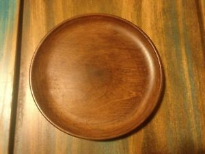 Old Vintage Small Cherry Wood Plate By Caffco Quality Woodenware Japan W Label