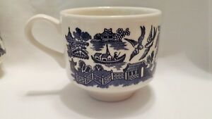 Blue White Willow Porcelain Coffee Tea Cup Mug Made In England Woods Ware