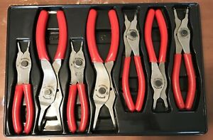 Snap On 7 piece Snap Ring Pliers Set Part Srpc107 Red Handle Set With Tray