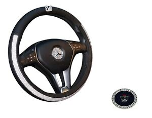 Car Steering Wheel Cover 38cm Deluxe Pu Leather Bling Rhinestone swan For Girl