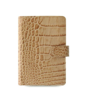 Filofax Personal Size Classic Croc Organiser Planner Diary Fawn Leather 026012