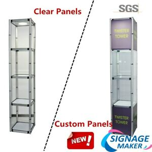 81 1 Square Portable Aluminum Spiral Tower Display Case With Top Light Panels