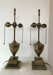 Pair Of Vintage Brass Federal Style Lamps Stars 1940 S Hollywood Regency