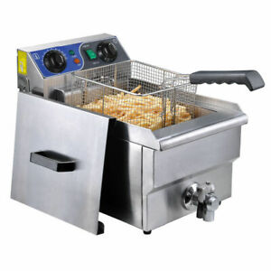 11 7l Commercial Deep Fryer W Timer Drain Fast Food French Frys Electric Cooker