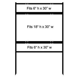 30 w X 18 h Inch Metal H frame Real Estate Yard Sign W Top Bottom Riders 3pk