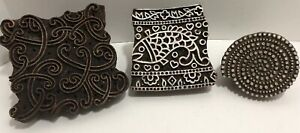 3 Antique Wooden Hand Curved Stamp Block Print Textile Fabric Printing Stamp