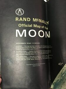 Vintage Rand Mcnally Official Map Of The Moon