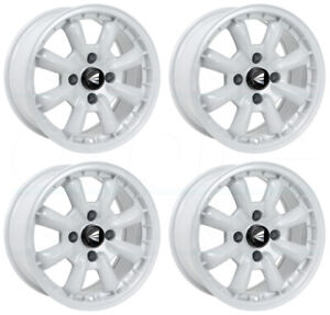 4 New 16 Enkei Compe Wheels 16x7 4x100 25 White Paint Rims