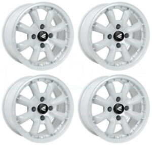4 New 16 Enkei Compe Wheels 16x7 16x8 4x100 25 25 White Paint Staggered Rims