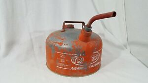 Vintage Tru test M 2 1 2 Gallon Galvanized Metal Gasoline Can Gas Red White