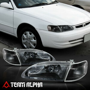 Fits 1998 2000 Toyota Corolla black clear crystal Corner Headlight Headlamp Lamp