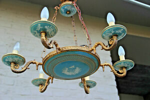 Vintage French Majolica Wedgwood Design Putti Romantic Turquoise Chandelier Lamp