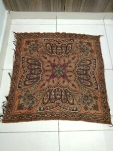 Antique French Paisley Kashmir Square Piano Shawl Wool Size 36 X34 Reversible