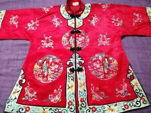 Antique Chinese Hand Embroidery Silk Robe Size Chest22 Length 28 Cm56x72 Good