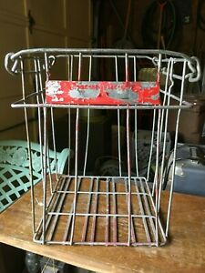 Vintage Metal Wire Egg Crate W Flip Up Handles