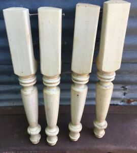 4 Antique Architectural Salvage Turned Wood Table Legs Thick 23 5 8