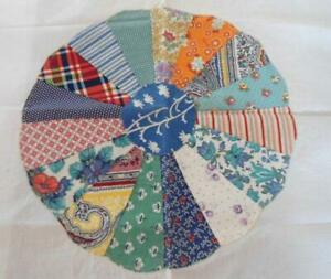 Set Of 2 Dresden Quilt Blocks Hand Stitched For Pillows Fabric Crafts Cotton