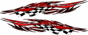 Auto Vehicle Vinyl Boat Car Truck Graphics Racing Flag Red Decals Stickers 50