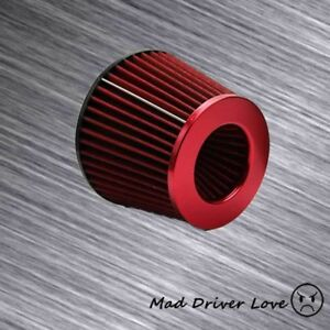 4 Inlet High Flow Cone Cold Air Short Ram Intake Filter Red Universal Fit