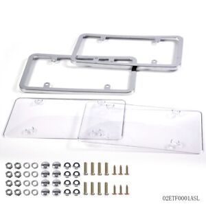 Clear Flat License Plate Cover Bug Shield Plastic Protector For Car Auto Tag