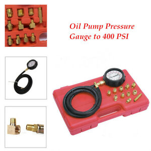 Auto Engine Oil Pressure Tester 400psi 6 Brass Fittings 1 Brass Extension Tube