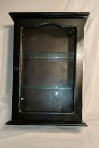 Retro Vintage Style Black Painted Wood Glass Wall Medicine Display Cabinet 16 5