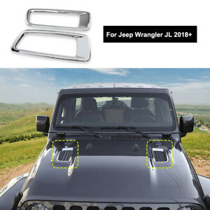 Pair Exterior Engine Hood Vents Cover Auto Parts Chrome For Jeep Wrangler Jl 18