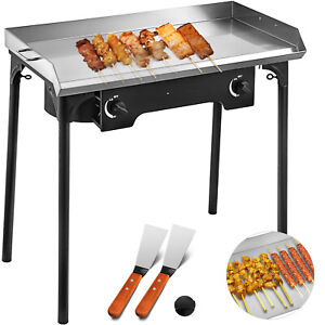 32 x17 Flat Top Griddle Grill Propane Fueled 2 Burners Stove Stainless Steel
