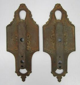Pair 2 Antique Cast Iron Lincoln 904 Wall Sconce Back Plates Light Fixture Mount
