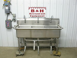 60 Stainless Steel Hands Free Three Bowl 3 Compartment Hand Sink W Foot Valve
