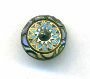 Antique Carved Pearl Button W Enamel Ome And Cut Steel Pinshank Counter