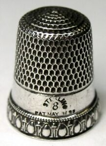 Antique Simons Bros Sterling Silver Thimble Egg Dart M R Monogram C1900s