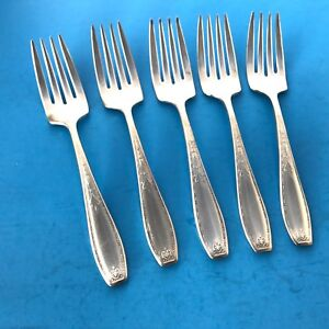 Wallingford Co Wallace 1920 Marcia Silverplate Salad Forks 5