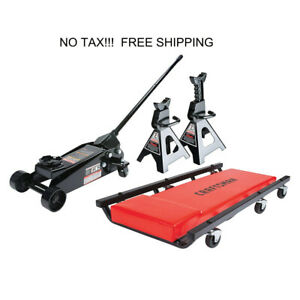 3 Ton Steel Floor Jack Set Creeper Jack Stands Car Truck Lift Garage Mechanic