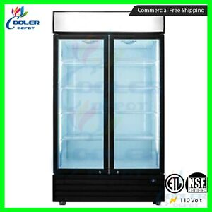 Commercial 2 Glass Door Merchandiser Upright Refrigerator Display Cooler Drink