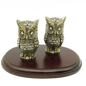 Tane Ofebres Mexico Sterling Silver Figural Owl Salt Pepper Shakers 415 5g