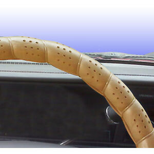 Classic Grip Synthetic Leather Old School Wrap Steering Wheel Cover Beige 16 In