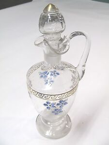 Antique Hand Painted Glass Ewer Decanter Hand Blown 10 5 Tall Free Shipping