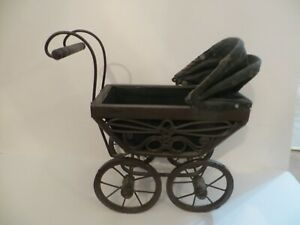 Vintage Victorian Style Doll Buggy Baby Carriage Wicker Wood And Iron