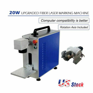 Upgrade Portable 30w Fiber Laser Marking And Engraving Machine Ratory Axis