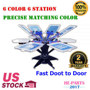 Silk Screen Printing Rotary Printer Precise Matching Equipment 6 Color 6 Station