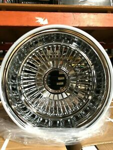 Set Of 4 New 14x7 72 Spoke Laced Chrome Reverse Wire Wheels Lowrider