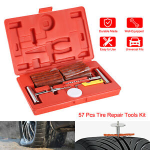 57pc Tire Repair Kit Car Tires Patch Tools Truck Motorcycle Heavy Duty Puncture