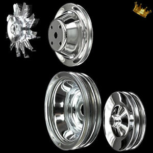 4 Pulley Set For Sb Chevy Lwp With Alt A C And Press On Power Steering Chrome