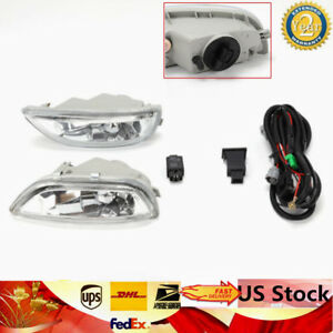 Fit 2001 2002 Toyota Corolla Fog Lights Clear Lens Front Driving Lamps H3 Bulb