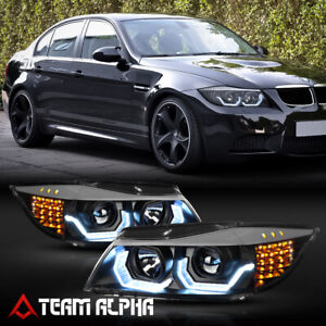 Fits 2006 2008 Bmw E90 F30 Style 3d Halo Led Signal Black Projector Headlight