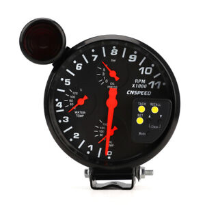 5 4 In 1 Tachometer Rpm Meter W Shift Light Oil Pressure Water Oil Temp Gauge