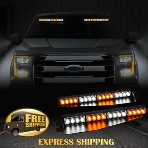 34 32 Led Warning Emergency Hazard Beacon Visor Dash Strobe Light Bar Red White