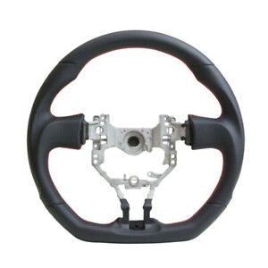 Handkraftd Steering Wheel For 13 17 Frs Brz 86 D Flat Bottom Black W red Stitch