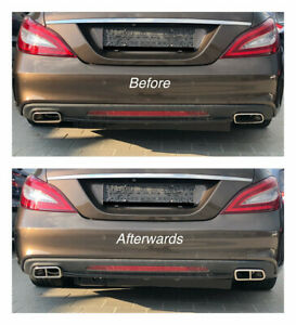 Chrome Stainless Stee Exhaust Pipe Cover Trim Decor Mercedes W212 C218 gr212